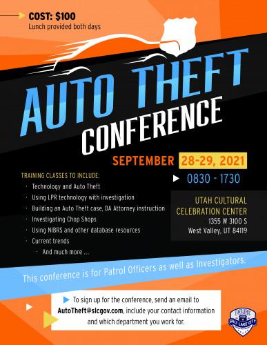 Salt Lake CIty Auto Theft Conference flyer